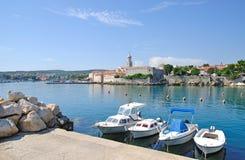 Ciudad de Krk, isla de Krk, Croatia Foto de archivo libre de regalías