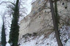 Ciudad de Krumlov Paisajes de la República Checa de la naturaleza checa del invierno y de un panorama de la ciudad checa medieval Imágenes de archivo libres de regalías