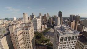 Ciudad de la antena de Detroit almacen de metraje de vídeo