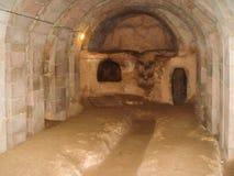 Ciudad de la cueva de Derinkuyu situada en Cappadocia, Turquía Imagen de archivo libre de regalías