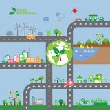 Ciudad de la ecología del verde de Infographic Imágenes de archivo libres de regalías