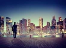 Ciudad de la escena de Corporate Cityscape Urban del hombre de negocios que construye Concep Foto de archivo