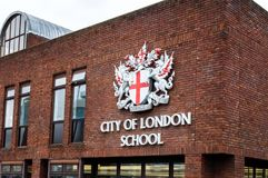 Ciudad de la escuela de Londres en el centro de Londres, Inglaterra Foto de archivo libre de regalías