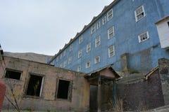 Ciudad de la explotación minera del fantasma de Sewell, Chile Foto de archivo