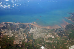 Ciudad de la foto de la antena de Mackay imagen de archivo