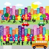 Ciudad de la historieta con los pictogramas de la gente Foto de archivo libre de regalías