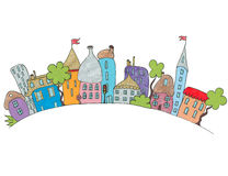 Ciudad de la historieta dibujada a mano Aislado Foto de archivo