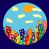 Ciudad de la historieta en el círculo ilustración del vector