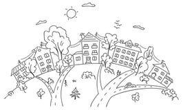 Ciudad de la historieta en una colina ilustración del vector