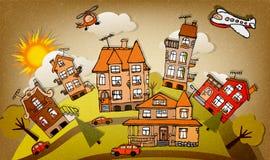 Ciudad de la historieta (otoño) ilustración del vector