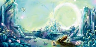 ciudad de la ilustración lunar del concepto de la luna libre illustration