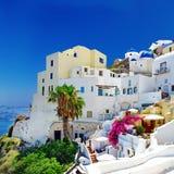 Ciudad de la isla de Santorini, Oia Foto de archivo
