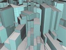 Ciudad de la megalópoli de rascacielos Foto de archivo