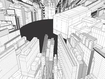 Ciudad de la megalópoli del vector de los rascacielos Fotos de archivo libres de regalías