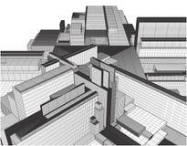 Ciudad de la megalópoli del vector de los rascacielos Imagen de archivo