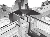 Ciudad de la megalópoli del vector de los rascacielos Imágenes de archivo libres de regalías