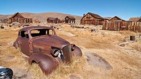 Ciudad de la minería aurífera en el salvaje al oeste de América Imágenes de archivo libres de regalías