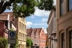 Ciudad de la mirada de soslayo en el ostfriesland Alemania Imágenes de archivo libres de regalías