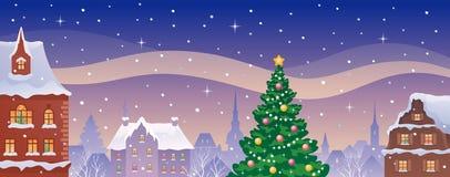 Ciudad de la Navidad panorámica ilustración del vector