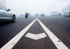 Ciudad de la niebla con humo de Moscú Foto de archivo libre de regalías