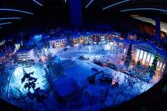 Ciudad de la nieve del juguete de la noche Fotografía de archivo