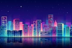 Ciudad de la noche del vector con el ejemplo de neón del resplandor Imágenes de archivo libres de regalías