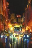 Ciudad de la noche en la lluvia Foto de archivo libre de regalías