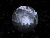 Ciudad de la noche de la Luna Llena stock de ilustración