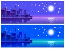 Ciudad de la noche, paisaje, extracto,  Fotos de archivo libres de regalías