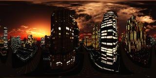 Ciudad de la noche, rascacielos de la noche fotografía de archivo