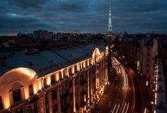 Ciudad de la noche St Petersburg Foto de archivo libre de regalías