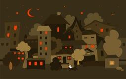 Ciudad de la noche Vector Fotos de archivo
