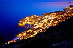 Ciudad de la opinión de la tarde del archipiélago de Dubrovnik desde arriba foto de archivo