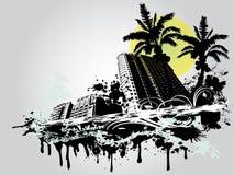 Ciudad de la palma del verano Stock de ilustración