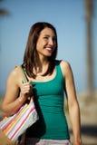 Ciudad de la playa de la mujer Imágenes de archivo libres de regalías