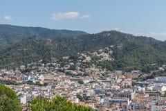 Ciudad de la playa de Tossa de Mar en Costa Brava en Cataluña, España, a Foto de archivo libre de regalías