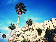 Ciudad de la playa de Tropea Italia en un acantilado fotografía de archivo