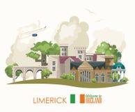 Ciudad de la quintilla Tarjeta plana con las señales, castillo irlandés, campos verdes del diseño del vector de Irlanda stock de ilustración