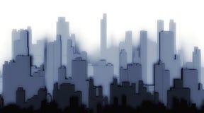 ciudad de la silueta 3d en un fondo blanco Imagenes de archivo