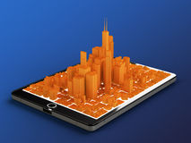 Ciudad de la tableta imagen de archivo libre de regalías