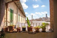 Ciudad de la tarde de Siena imagenes de archivo