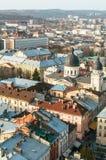 Ciudad de la visión del Lviv fotos de archivo