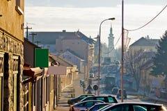 Ciudad de las calles del invierno de Bjelovar Foto de archivo
