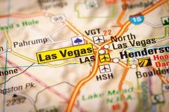 Ciudad de Las Vegas en un mapa de camino imagenes de archivo