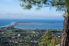 Ciudad de Lefkada del top Fotografía de archivo