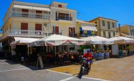 Ciudad de Lefkada, vista de la ciudad por la tarde, isla de Levkas, islas jónicas, Grecia de Lefkada fotos de archivo libres de regalías