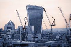 Ciudad de Londres en la puesta del sol Ciudad famosa de los rascacielos del negocio de Londres y de la opinión de la aria de las  Fotografía de archivo