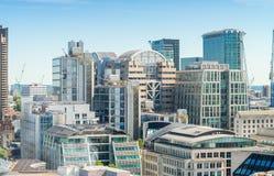 Ciudad de Londres Horizonte moderno del distrito financiero Imágenes de archivo libres de regalías