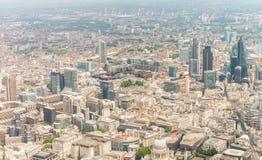 Ciudad de Londres, visión aérea desde el helicóptero Fotografía de archivo