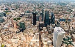 Ciudad de Londres, visión desde el helicóptero Foto de archivo